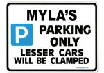 MYLA'S Personalised Parking Sign Gift | Unique Car Present for Her |  Size Large - Metal faced